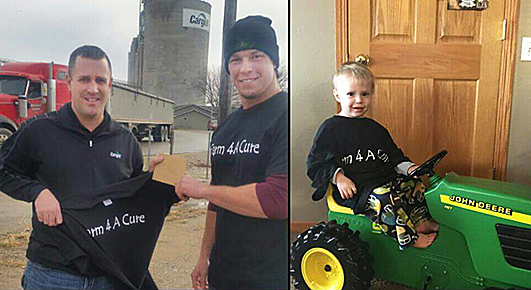 GIVING BACK -- Farm 4 A Cure donated last fall to assist Colin Petersen of Albion (right) with his heart illness and transplant. In the left photo, Donny Baker (right) is presenting a donation to Colin's father, Jon.