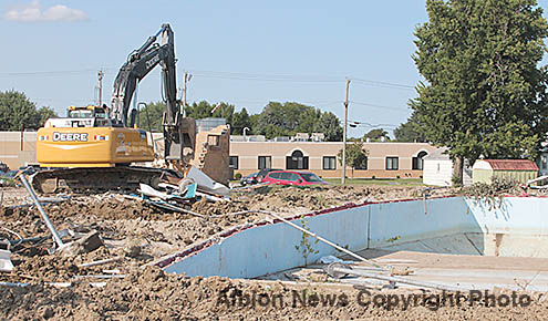 Pool demolition work underway last Thursday.