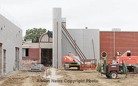 Concrete wall panels in place at the Boone Central project Tuesday afternoon.