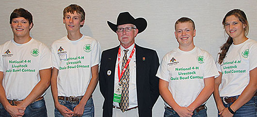 Boone County's livestock quiz bowl team members, earning third place in recent National 4-H Livestock Quiz Bowl Contest are (l.-r.) Dalton Wagner, Payton Beierman, Extension Educator Steve Pritchard, Brody Voichoski and Fina Choat.