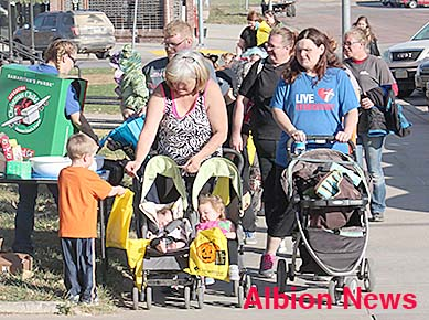 All ages made the annual Halloween trek through downtown Albion.