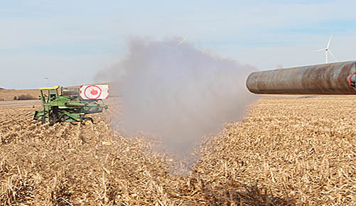 Air cannon shoots at the target during the accuracy competition.
