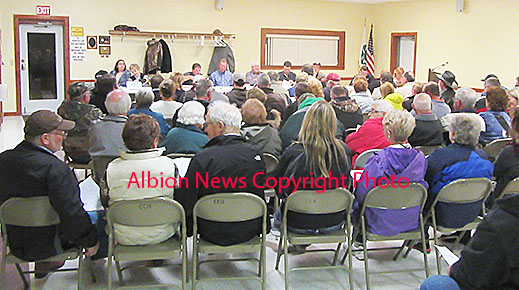 A portion of the large crowd attending the public hearing Monday night on proposed hog confinements near Petersburg.