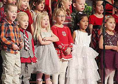 Boone Central kindergarteners were enthusiastic performers at the school winter program.