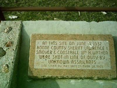 Existing Smoyer-Wathen monument located in northwest Boone County.