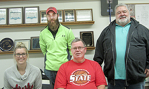 New Village of Petersburg Board members are (l. to r.) Ashley Thieman and Mitch Koch. Retiring board members are Allen Thorberg and Steve Faust.