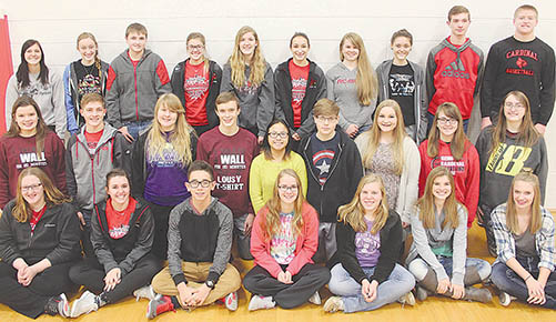 Principal's (All A) Honor Roll students included, back, l.-r., Bailey Reigle, Olivia Groeteke, Nathan Gottier, Tessa Hedlund, Nicole Woebbecke, Hailey Andreasen, Claire Schilousky, Michelle Julsen, Walker Stuhr and Jessie Sullivan; middle, l.-r., Stephanie Wright, Ethan Dozler, Anna Hamling, Scott Wright, Mariah Olson, Patricia Cleveland, Haley Greek, Hailey Schademann and April Johnson; front, l.-r., Abby Reicks, Lauren Hedlund, Christopher Preister, Rileigh Mapel, Emilie Kelley, Katie Goodwater and Emily Pelster. Not Pictured: Trey Zoucha, Destiny Umbarger and Shanae Baker.