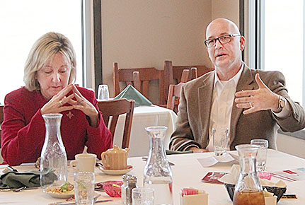 NU Vice Chancellors Donde Plowman, l., and Michael Boehm visited with Boone County residents Tuesday.