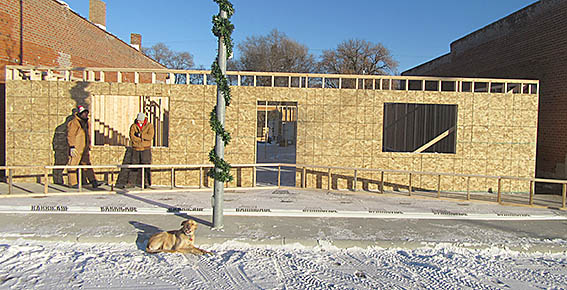 Framing is underway for the new downtown building in Petersburg.