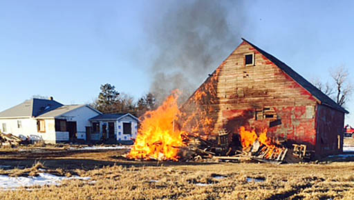 Barn and house used for a practice burn last Saturday, Feb. 4.