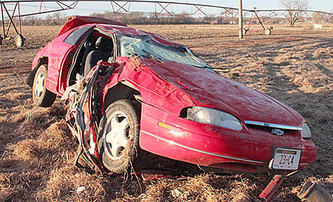 Meyer vehicle after the roll-over accident on Feb. 15.