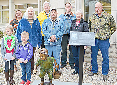 This photo, provided by the National Orphan Train Complex, includes all of the Nebraskans who attended the unveiling ceremony in Concordia, KS, last week. Mary Ann and Fred Fangman are on the far right.
