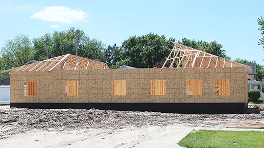 Jarecki-Yosten law office building under construction in Albion last Friday, May 19.