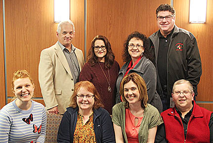 Representatives on hand last week to receive grants from Kate Kusek Johnson, grant committee chairperson, were (front, l.-r.) Virginia Whidden, St. Edward Development Co.; Staci Sandman, Albon Public Library; and Patricia Wagner, Smoyer-Wathen Monument Committee; (back) Paul Hosford, Boone County Historical Society and Albion Area Arts Council; Lisa Hallberg, Albion Senior Center; Irene Dresch, Village of Primrose, and Duane Kuhlman, Petersburg Volunteer Fire Department and Rescue Squad.