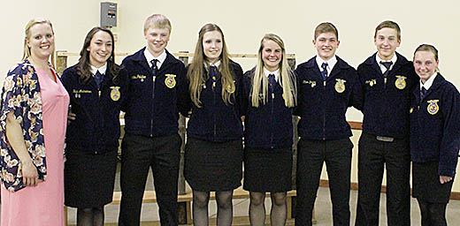 NEW OFFICERS -- Boone Central FFA advisor Abby Knobbe with new officers (l.-r.) Halie Andreasen, Nicholas Pelster, Tyanne Johnson, Kelsey Thompson, Ethan Dozler, Logan Kohl, and Ashtin Kaumans.
