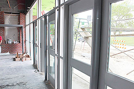 New entry doors were installed on the east side of the school addition last week.