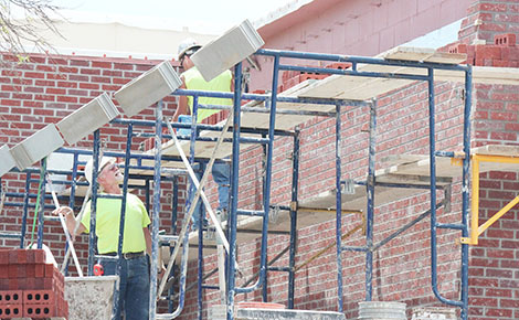 Brick layers were at work last month on the Boone Central School project, but now most of the work is focused on the interior.