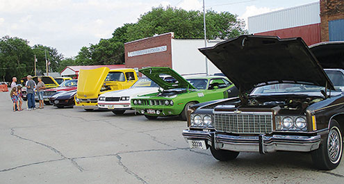 Vehicles lined up for the car show during the Petersburg Fire Department Cruise Night.