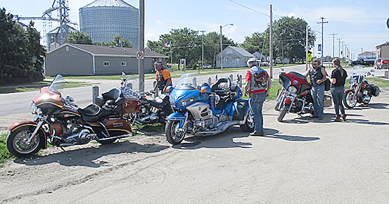Motorcycle riders gathered at Knotty Pine to prepare for the poker run.