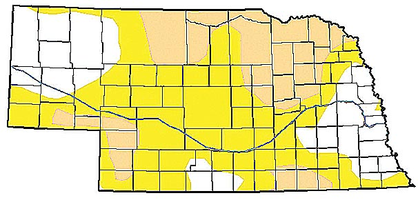 As of July 21, Boone County (light brown) is in the moderate drought category along with all of Wheeler, Antelope and Madison counties. Portions of Greeley, Nance and Platte counties are also in moderate drought. Other surrounding areas with yellow shading are in the abnormally dry category.
