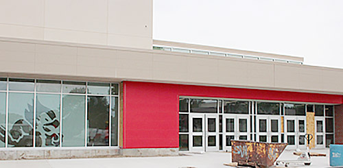Main entrance of Boone Central High School on the building's east side.