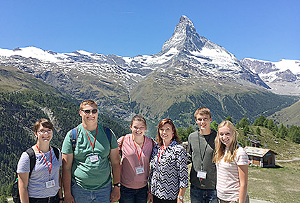Visiting the Matterhorn during their tour of Europe were (l.-r.) Maya Baker, Roy Cummings, Stepjhanie, Michele and Scott Wright, and Olivia Groeteke.