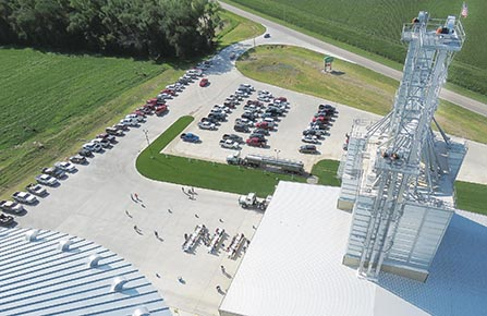 View from the top of the grain bin leg during the Pillen Feed Mill open house.