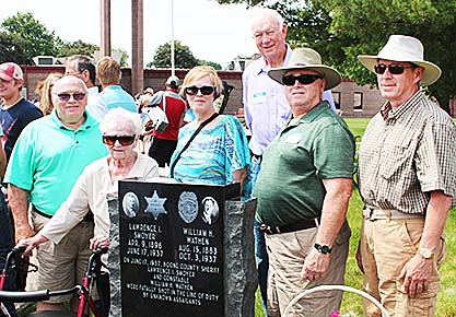 Some of the Wathen family descendants with the new Smoyer-Wathen monument on the courthouse grounds.