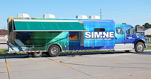 Truck containing the simulator equipment.