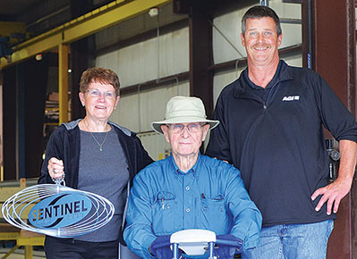 Special guests Bev and Wayne Buller were welcomed by Scott Stuhlmiller, right, Sentinel general manager.