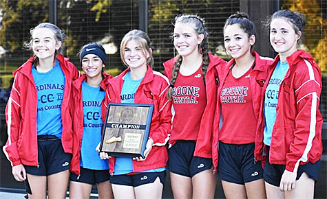 Boone Central girls cross country team, l.-r., Julia Nore, Jordan Stopak, Katie Goodwater, Autumn Simons, Autumn Farmer and Sam Weeder.