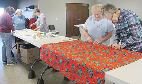 Quilters at work during the two-day quilting bee at Raeville.