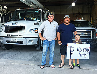 Linemen Cameron Knopik and Adam Babl were welcomed home Sept. 21.