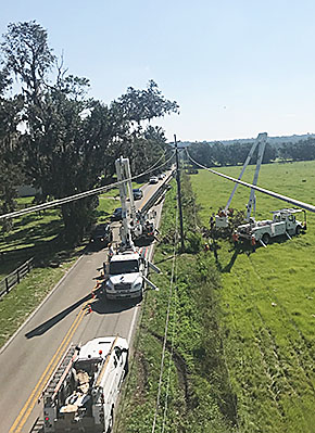 Overhead view of Loup Power crews restoring Florida power lines.