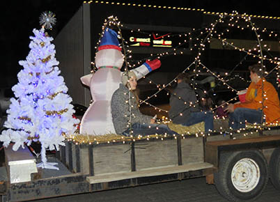 One of the many lighted floats in the Christmas Light Parade.