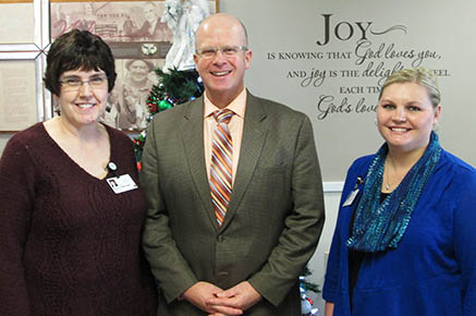 SPECIAL GUEST -- Heath Boddy (center), president and CEO of the Nebraska Health Care Association, visited at Good Samaritan Society with Karen Glesinger, left, administrator, and Jessica Donner, right, director of nursing.