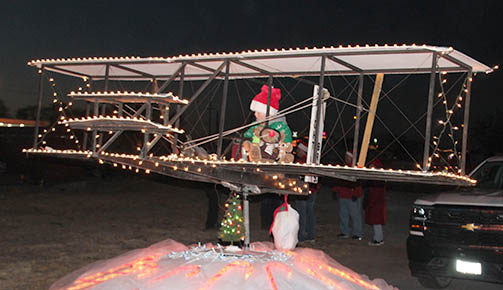 Wright Brothers airplane in the Christmas parade.