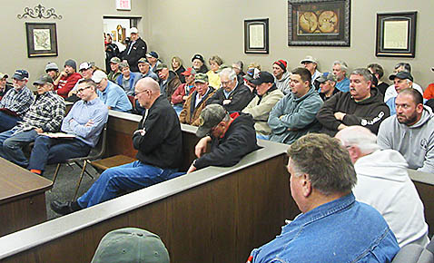 Portion of the crowd attending the Jan. 10 Boone County Commissioners meeting.
